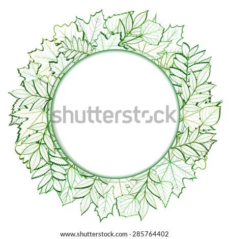 Fresh green leaves round border. Vector illustration - stock vector