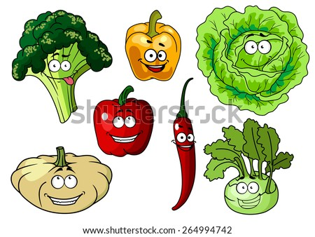 Fresh healthy cartoon vegetables characters with beaming smiles including broccoli, bell pepper, lettuce, chili pepper, kohl and pumpkin or squash, vector illustration isolated on white - stock vector