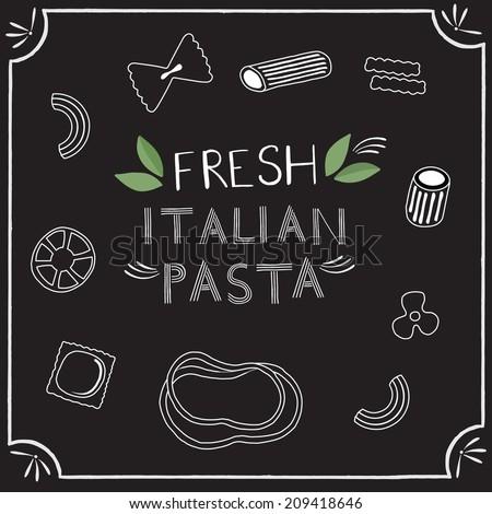 Fresh Italian pasta icons on chalkboard - stock vector