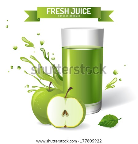 Fresh juice background with apple - stock vector