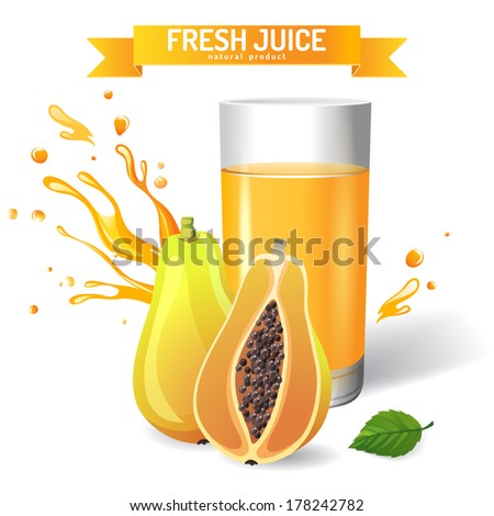 Fresh juice background with papaya and mint - stock vector
