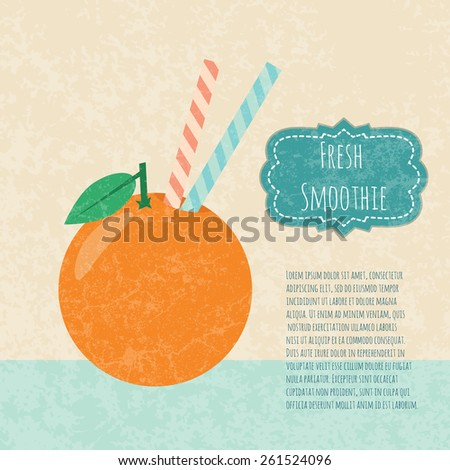 Fresh juice made in flat style.  Fruit smoothie. Healthy life concept.  Organic raw shake. Vector illustration. - stock vector