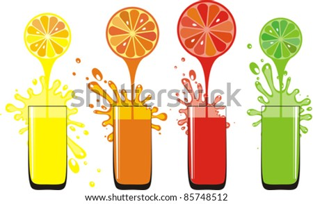 fresh juice pours from fruits in a glass isolated on White background. Vector illustration - stock vector