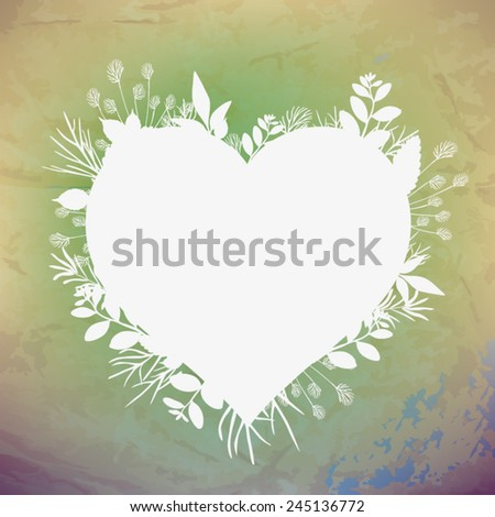 Fresh leaves heart - stock vector