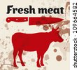 Fresh meat, beef, vector illustration - stock photo