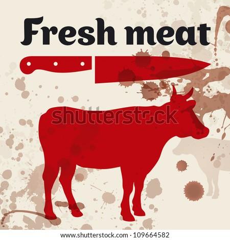 Fresh meat, beef, vector illustration - stock vector