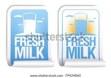 Fresh milk stickers. - stock vector