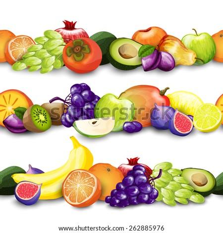 Fresh natural exotic fruit decorative borders design template vector illustration - stock vector