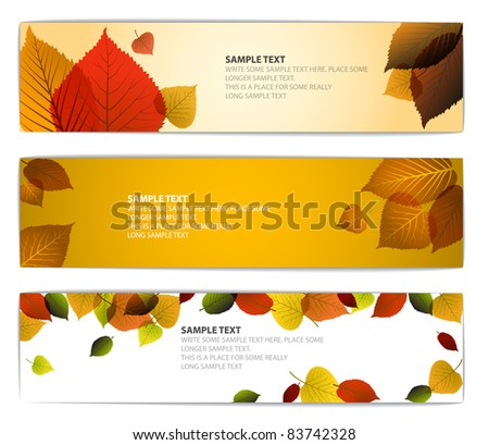Fresh natural fall vector horizontal banners with leafs and sample text - stock vector