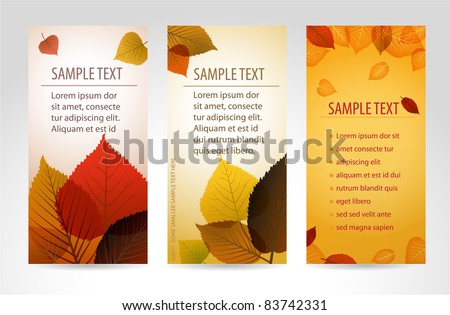 Fresh natural fall vector vertical banners with leafs and sample text - stock vector