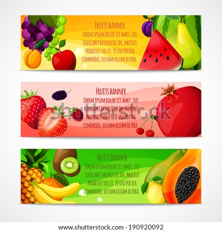 Fresh natural fruit food horizontal banners set with pear apple apricot isolated vector illustration