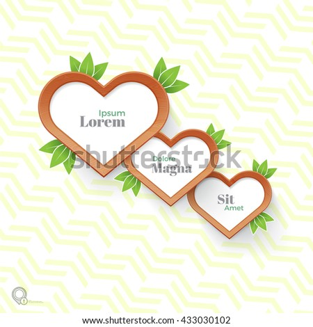 Fresh Natural Hearts Text Boxes Vector Design for Your Page Design  - stock vector