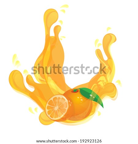 Fresh Orange juice - stock vector