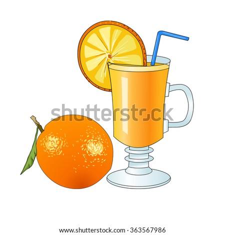 Fresh orange juice in glass mug. Crude orange. Refreshing drink. Vitamin cocktail. Circle of orange. Healthy useful food. Vector. - stock vector