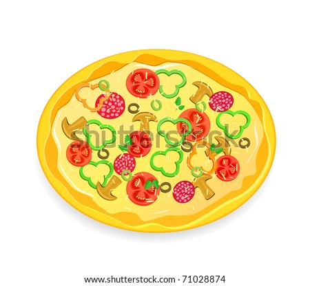 Fresh Pizza Icon with Vegetables and Pepperoni Isolated on White Background. Vector Illustration
