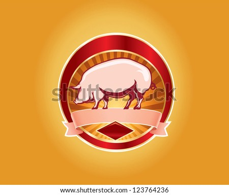 Fresh pork label with pig - stock vector