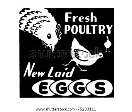 Fresh Poultry - Retro Ad Art Banner - stock vector