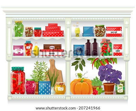 Fresh produce and glass bottles with preserved food at home  - stock vector