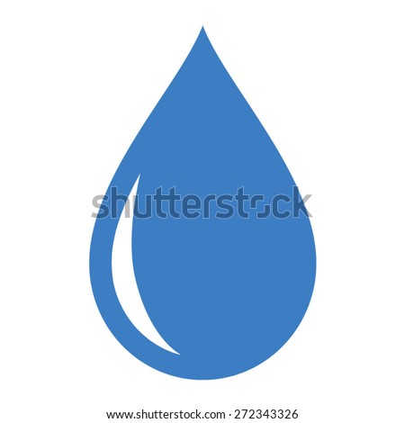 Fresh rain water drop / droplet or tear drop flat icon for apps - stock vector