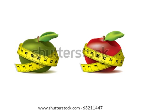 Fresh red and green apple with measuring tape isolated on white - vector - stock vector