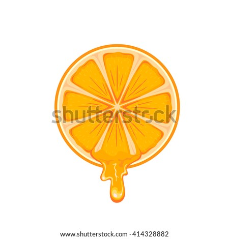 Fresh ripe orange isolated on white background, illustration. - stock vector
