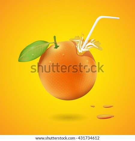 Fresh ripe orange juice featuring an orange fruit with a straw - stock vector