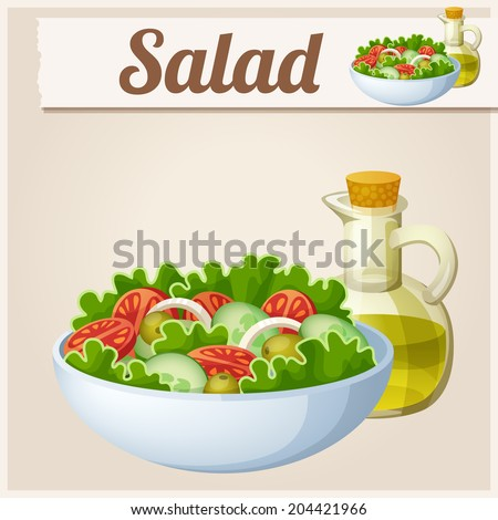 Fresh salad with olive oil. Detailed Vector Icon. Series of food and drink and ingredients for cooking. - stock vector