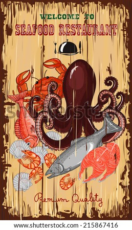 Fresh seafood invitation poster. Hand drawn vector illustration.
