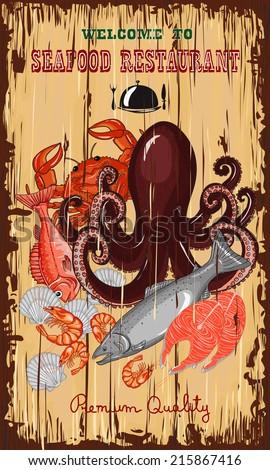 Fresh seafood invitation poster. Hand drawn vector illustration. - stock vector