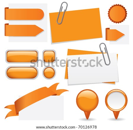 Fresh set of orange glossy buttons, paperclipped business cards, map markers, tabs, and banners. Web elements for you to customize with your text. - stock vector