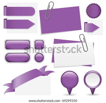 Fresh set of purple glossy buttons, paperclipped business cards, map markers, tabs, and banners. Web elements for you to customize with your text. - stock vector