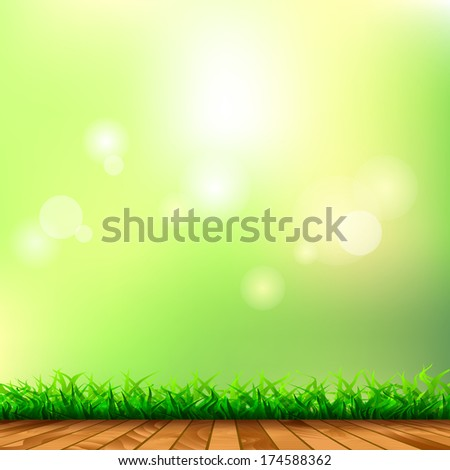 Fresh spring green grass with bokeh and sunlight and wood floor. Beauty natural background. Horizontally Seamless Green Grass Banner Against the sky  - stock vector
