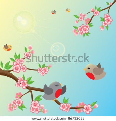 Fresh, sunny morning. Beautiful blossom branches, flying around birds and lens flare. Only simple gradient is used. Suitable for children's book illustration. - stock vector