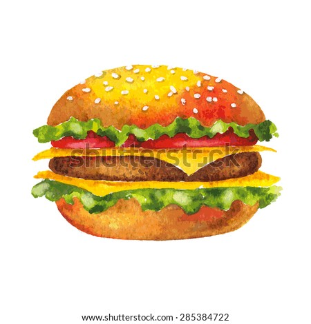 Fresh tasty appetizing burger Big hamburger vector illustration Watercolor hand drawn fast food isolated on white background