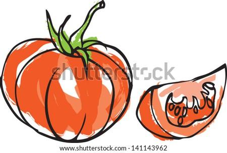 Fresh tomato with tomato wedge - stock vector
