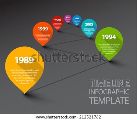 Fresh Vector Infographic Timeline Template with retro pointers - dark version - stock vector