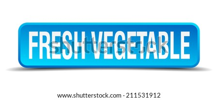 fresh vegetable blue 3d realistic square isolated button
