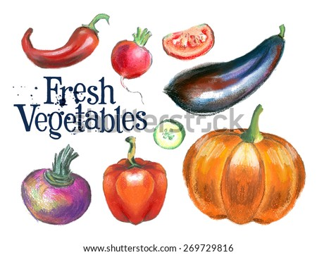 fresh vegetables vector logo design template.  fresh food or gardening icon. - stock vector