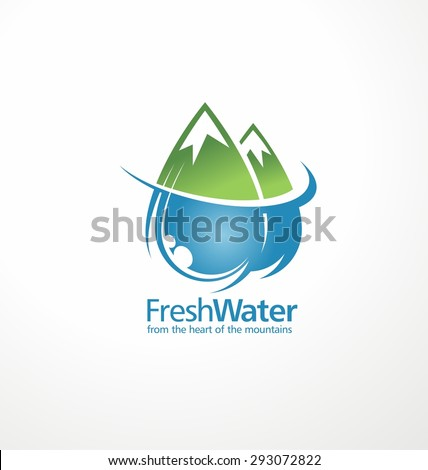 Fresh water drops as part of the mountains. Creative logo design template. Abstract aqua sign concept. Mineral natural water unique idea.  Corporate nature and landscape icon illustration. - stock vector