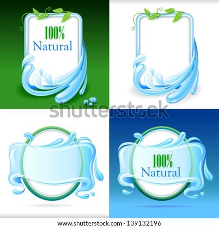 Fresh Water Label Set - stock vector