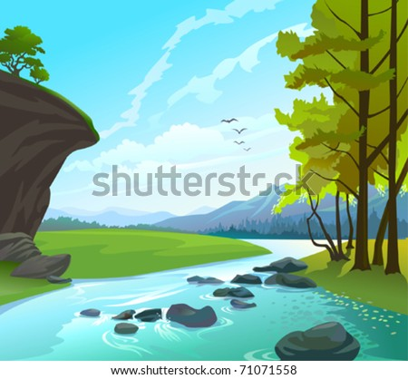 Fresh Water Stream in hilly country - stock vector