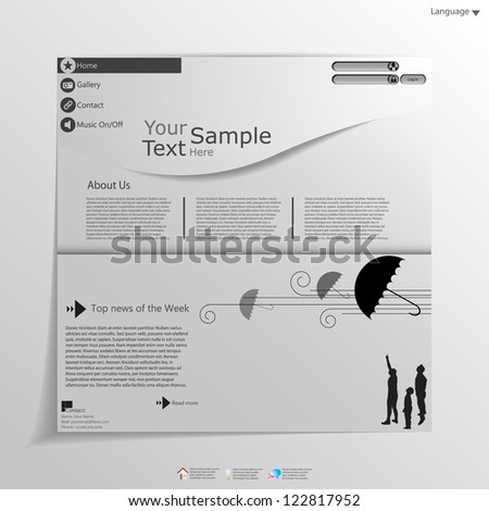 Fresh White Web Site Template, - stock vector