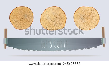 fresh wooden cuts and two-men saw vector illustration - stock vector