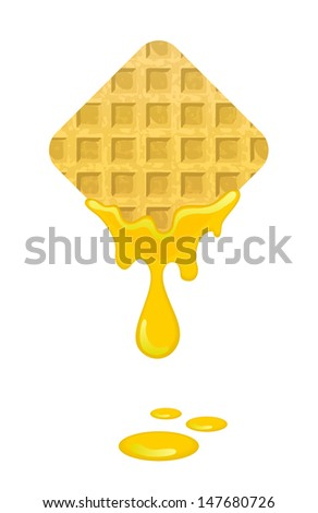 freshly baked waffles with honey  - stock vector