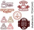 Freshly roasted coffee rubber stamp illustrations - stock vector