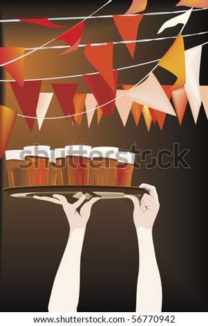 Friday night beer party - stock vector