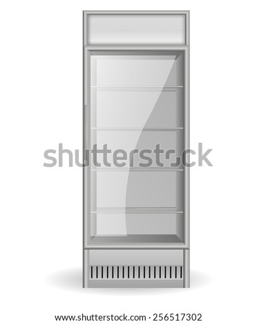 Fridge Drink with glass door - vector drawing isolated  - stock vector