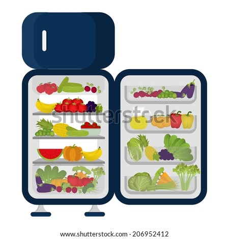 Fridge full of fruits and vegetables only. Meatless and no dairy. Refrigerator full of vegetables and fruits. - stock vector