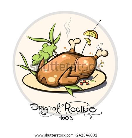 fried chicken - stock vector