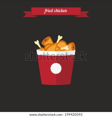 Fried chicken. Flat style design - vector - stock vector